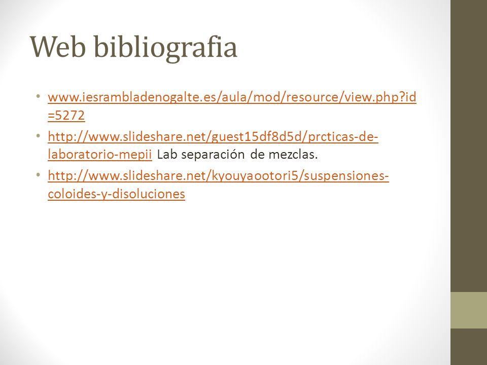 Web bibliografia www.iesrambladenogalte.es/aula/mod/resource/view.php id=5272.