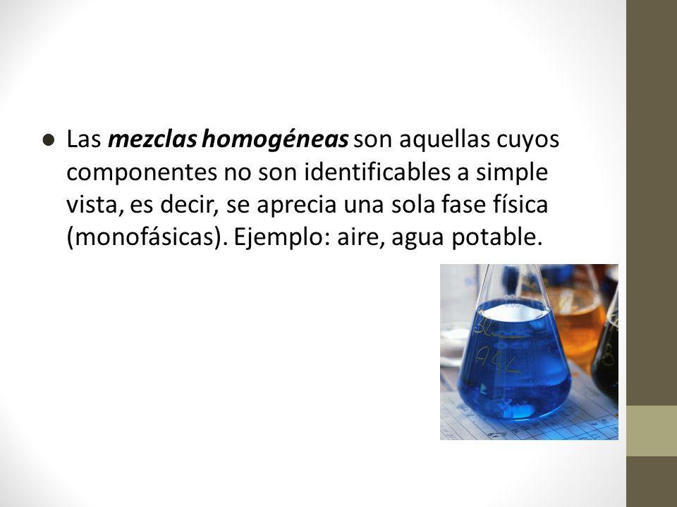 Las mezclas homogéneas son aquellas cuyos componentes no son identificables a simple vista, es decir, se aprecia una sola fase física (monofásicas).