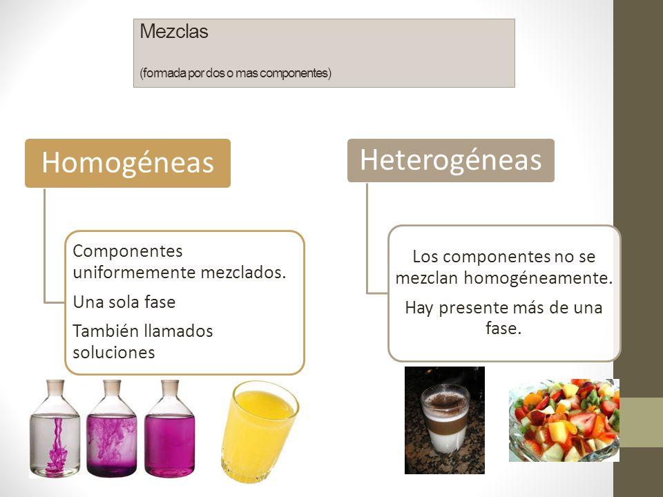 Mezclas (formada por dos o mas componentes)