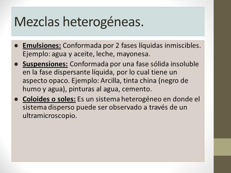 Mezclas heterogéneas. Emulsiones: Conformada por 2 fases líquidas inmiscibles. Ejemplo: agua y aceite, leche, mayonesa.