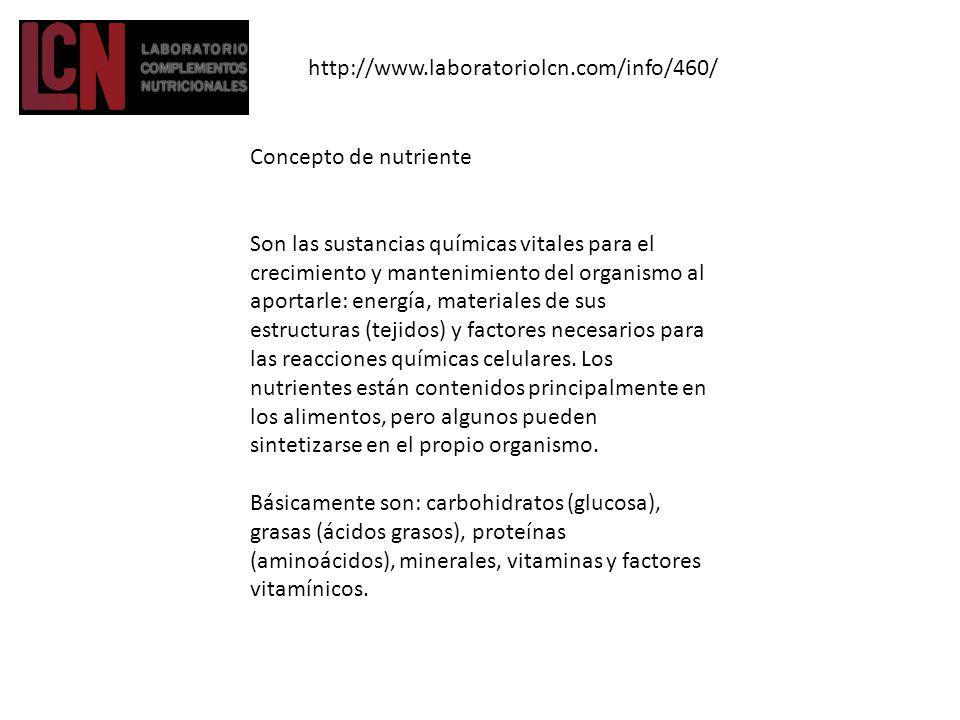 http://www.laboratoriolcn.com/info/460/ Concepto de nutriente.