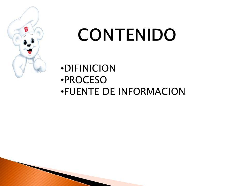 CONTENIDO DIFINICION PROCESO FUENTE DE INFORMACION