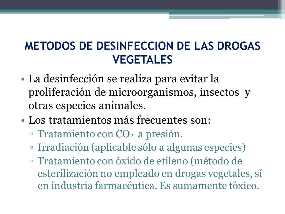 METODOS DE DESINFECCION DE LAS DROGAS VEGETALES