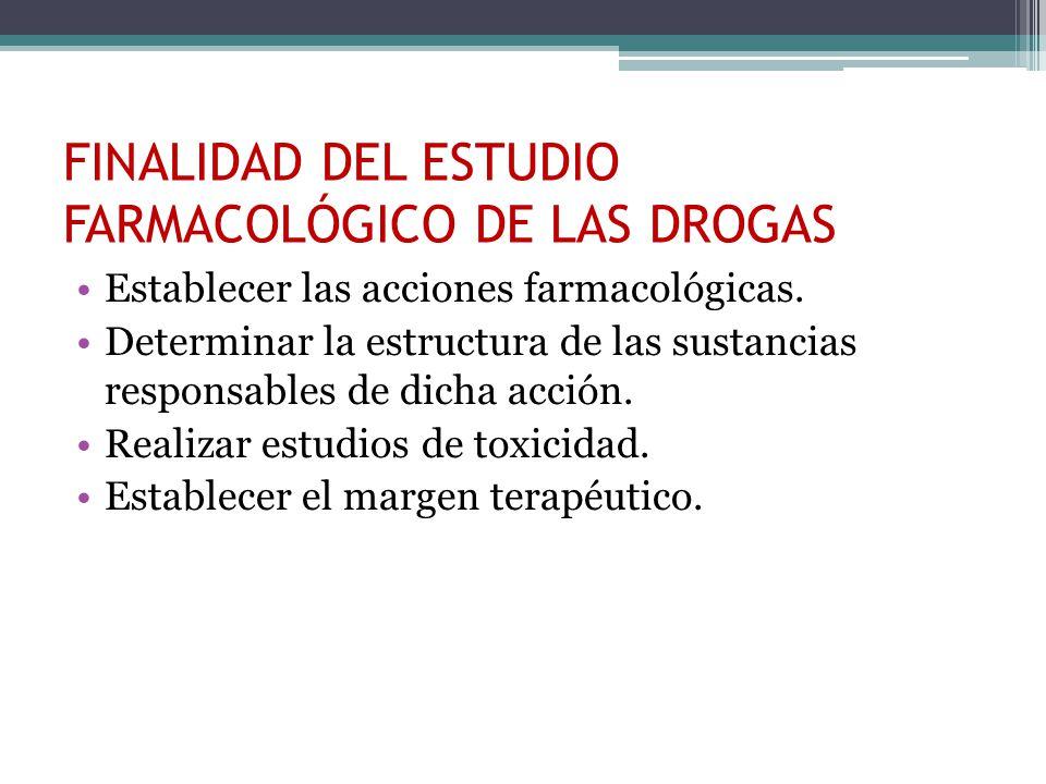 FINALIDAD DEL ESTUDIO FARMACOLÓGICO DE LAS DROGAS