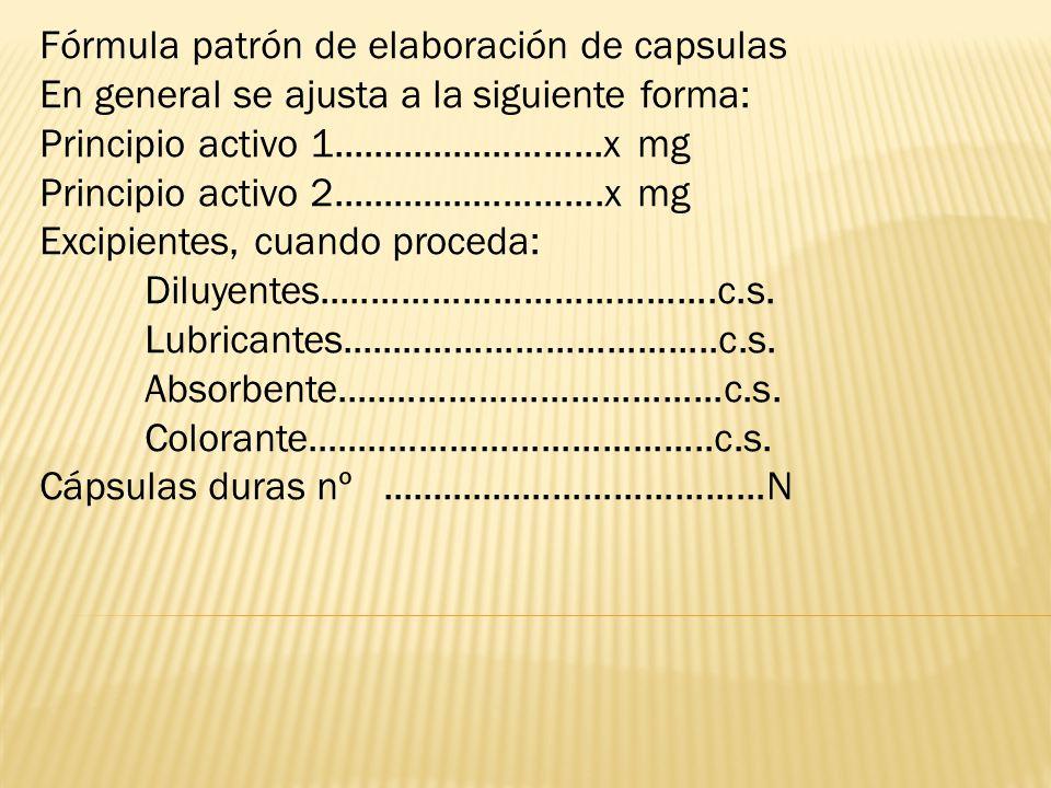Fórmula patrón de elaboración de capsulas