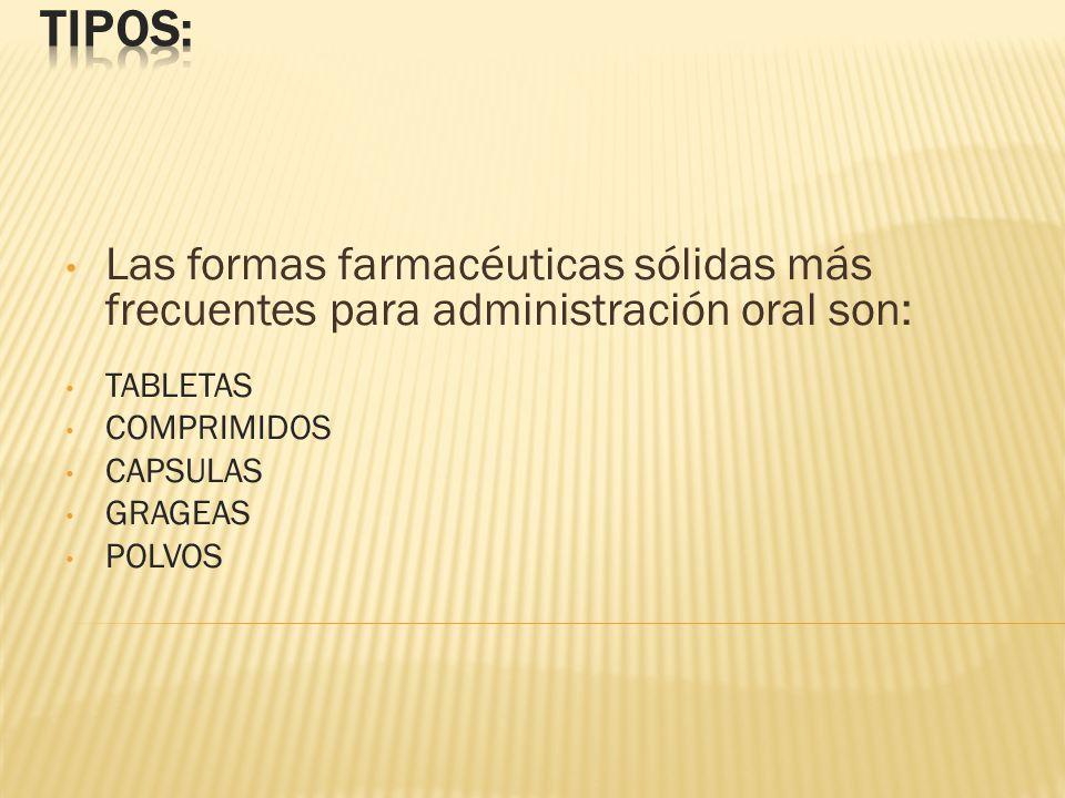 TIPOS: Las formas farmacéuticas sólidas más frecuentes para administración oral son: TABLETAS. COMPRIMIDOS.
