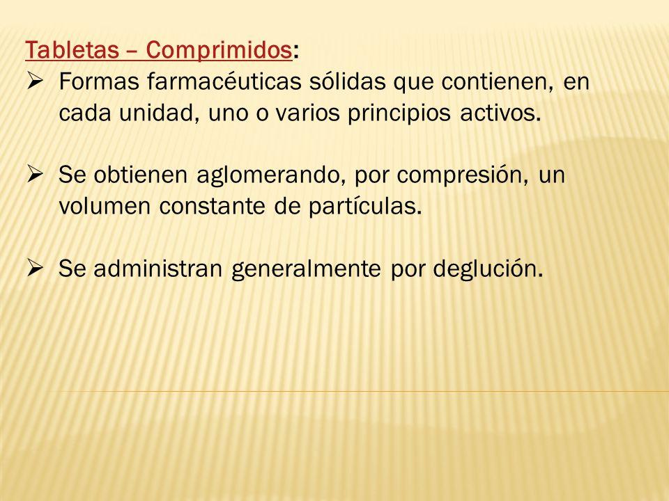 Tabletas – Comprimidos: