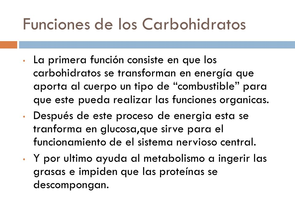 Funciones de los Carbohidratos