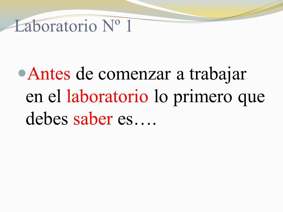 Laboratorio Nº 1 Antes de comenzar a trabajar en el laboratorio lo primero que debes saber es….