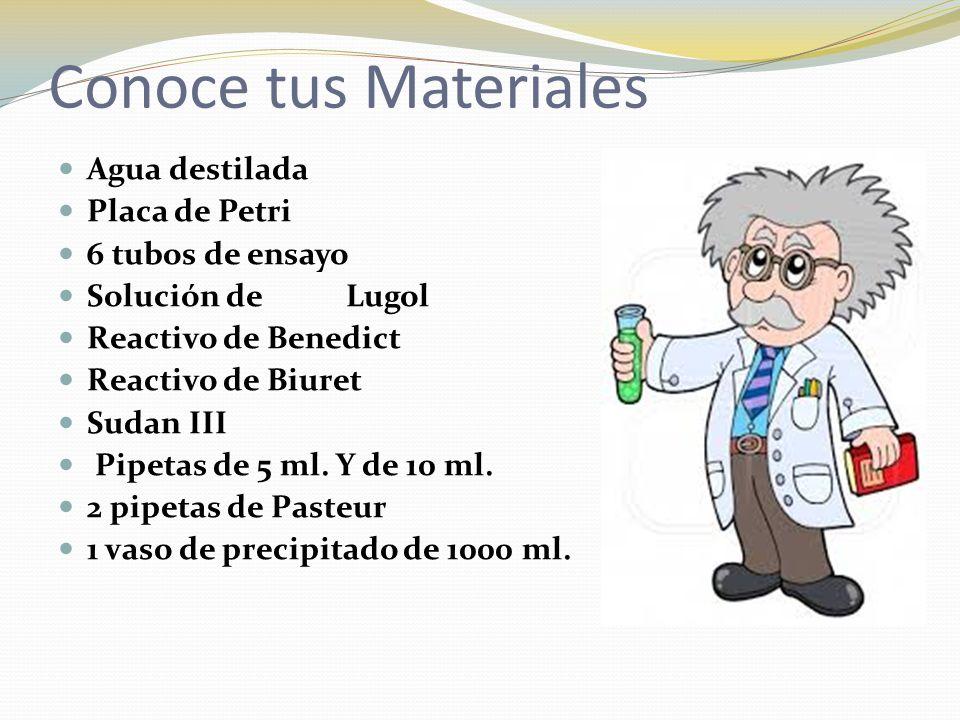 Conoce tus Materiales Agua destilada Placa de Petri 6 tubos de ensayo