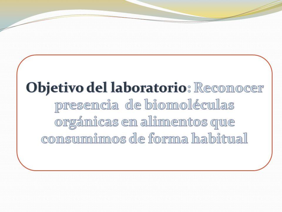 Objetivo del laboratorio: Reconocer presencia de biomoléculas orgánicas en alimentos que consumimos de forma habitual
