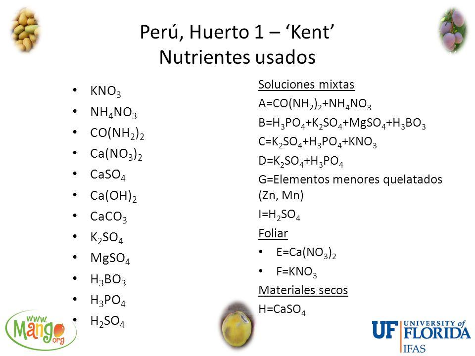 Perú, Huerto 1 – 'Kent' Nutrientes usados