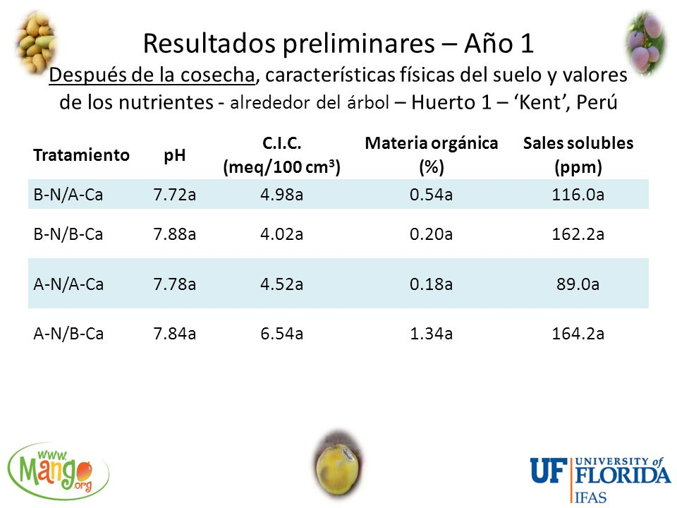 Resultados preliminares – Año 1 Después de la cosecha, características físicas del suelo y valores de los nutrientes - alrededor del árbol – Huerto 1 – 'Kent', Perú