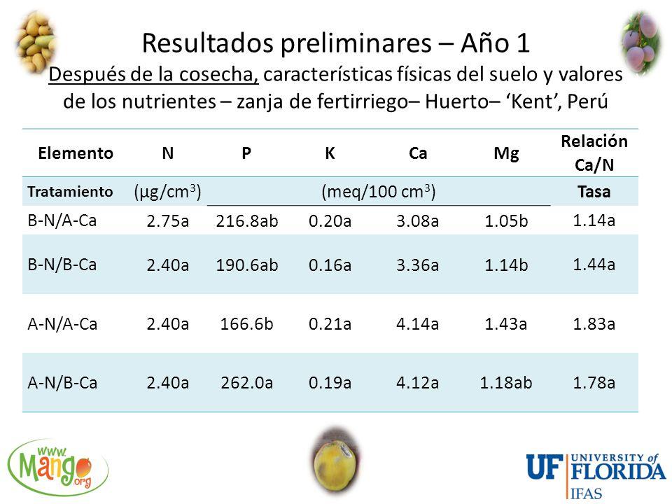 Resultados preliminares – Año 1 Después de la cosecha, características físicas del suelo y valores de los nutrientes – zanja de fertirriego– Huerto– 'Kent', Perú
