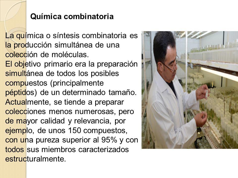 Química combinatoria. La química o síntesis combinatoria es la producción simultánea de una colección de moléculas.