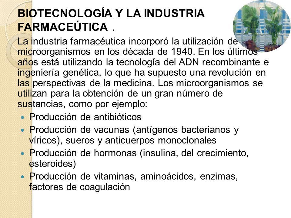 BIOTECNOLOGÍA Y LA INDUSTRIA FARMACEÚTICA .