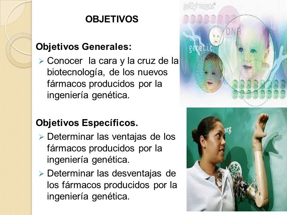 OBJETIVOS Objetivos Generales: Conocer la cara y la cruz de la biotecnología, de los nuevos fármacos producidos por la ingeniería genética.