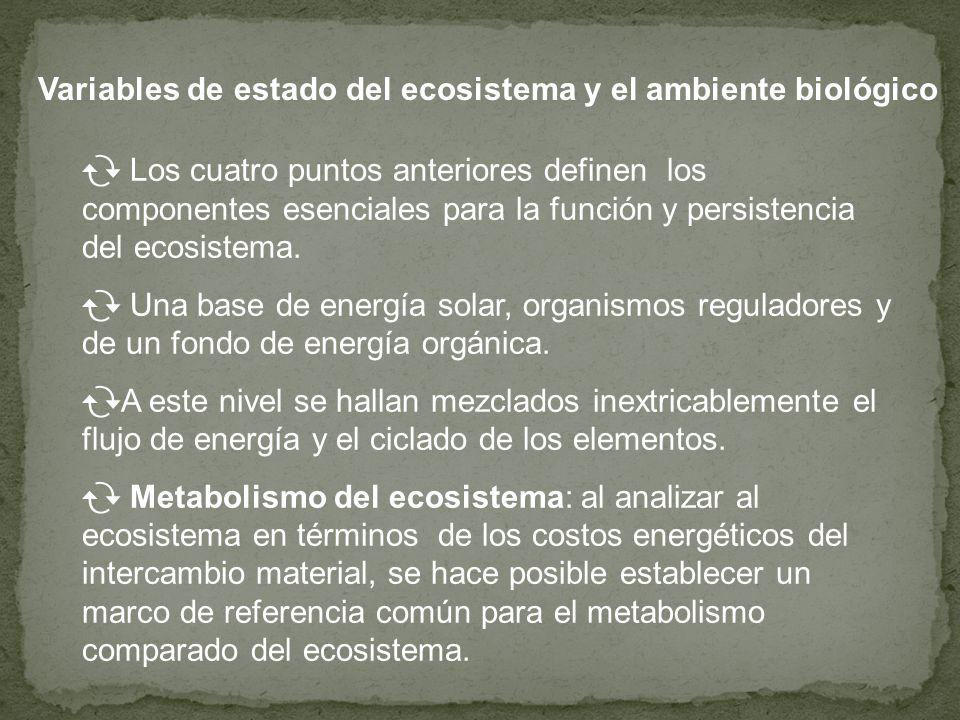 Variables de estado del ecosistema y el ambiente biológico