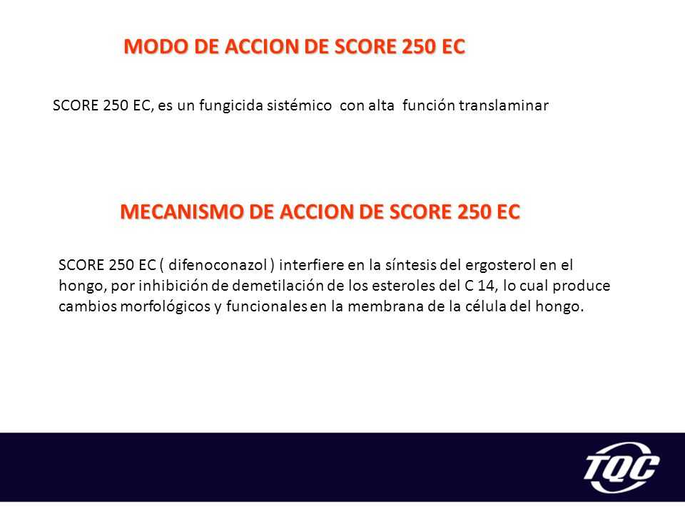 MODO DE ACCION DE SCORE 250 EC MECANISMO DE ACCION DE SCORE 250 EC