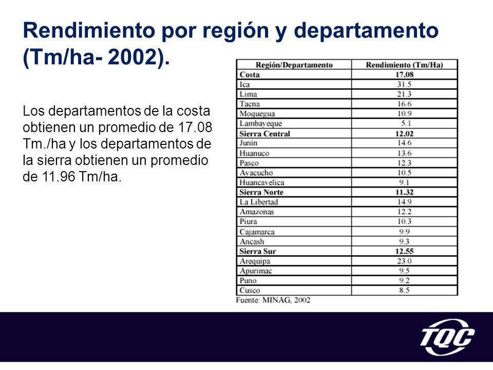 Rendimiento por región y departamento (Tm/ha- 2002).