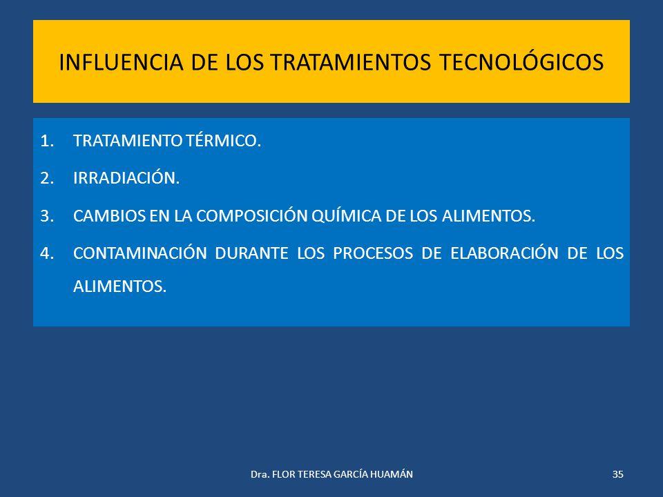 INFLUENCIA DE LOS TRATAMIENTOS TECNOLÓGICOS