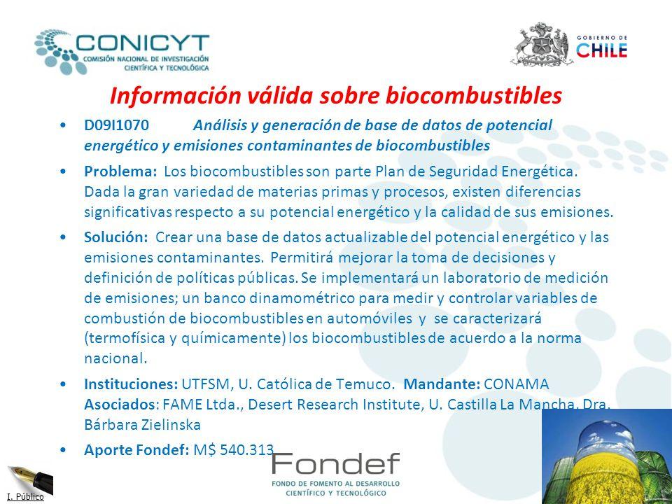Información válida sobre biocombustibles