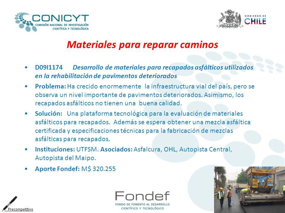 Materiales para reparar caminos