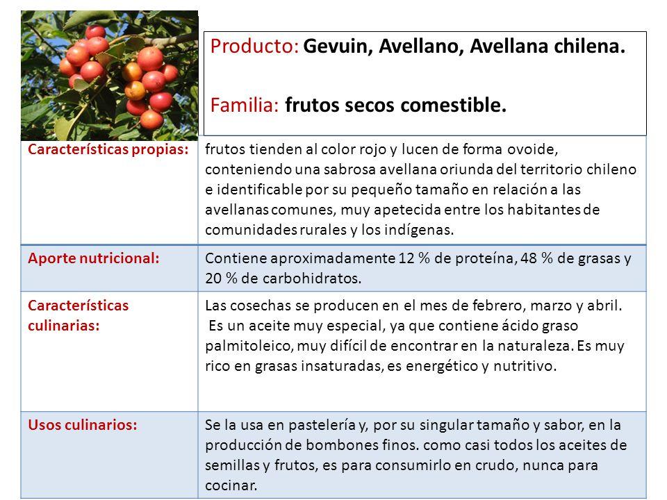 a Producto: Gevuin, Avellano, Avellana chilena.