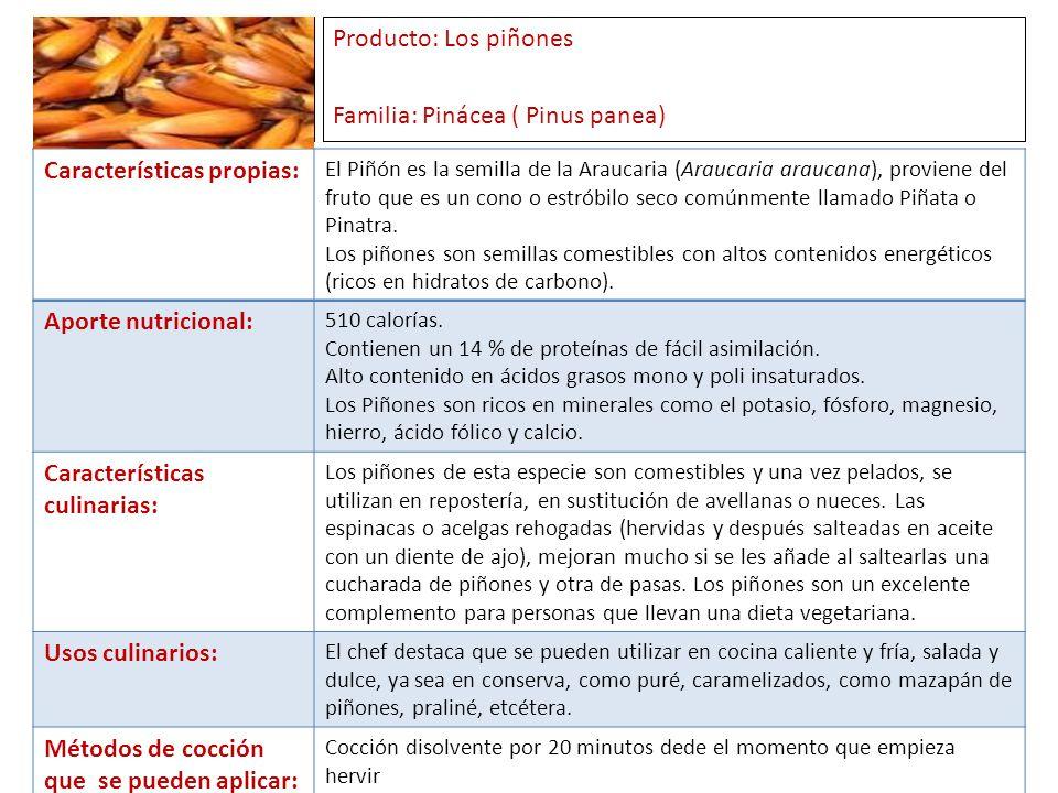 Producto: Los piñones Familia: Pinácea ( Pinus panea)