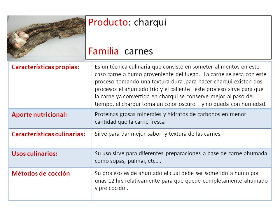 Producto: charqui Familia carnes