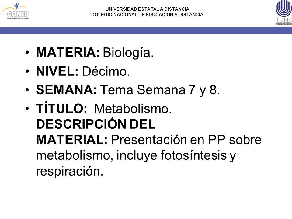 MATERIA: Biología. NIVEL: Décimo. SEMANA: Tema Semana 7 y 8.