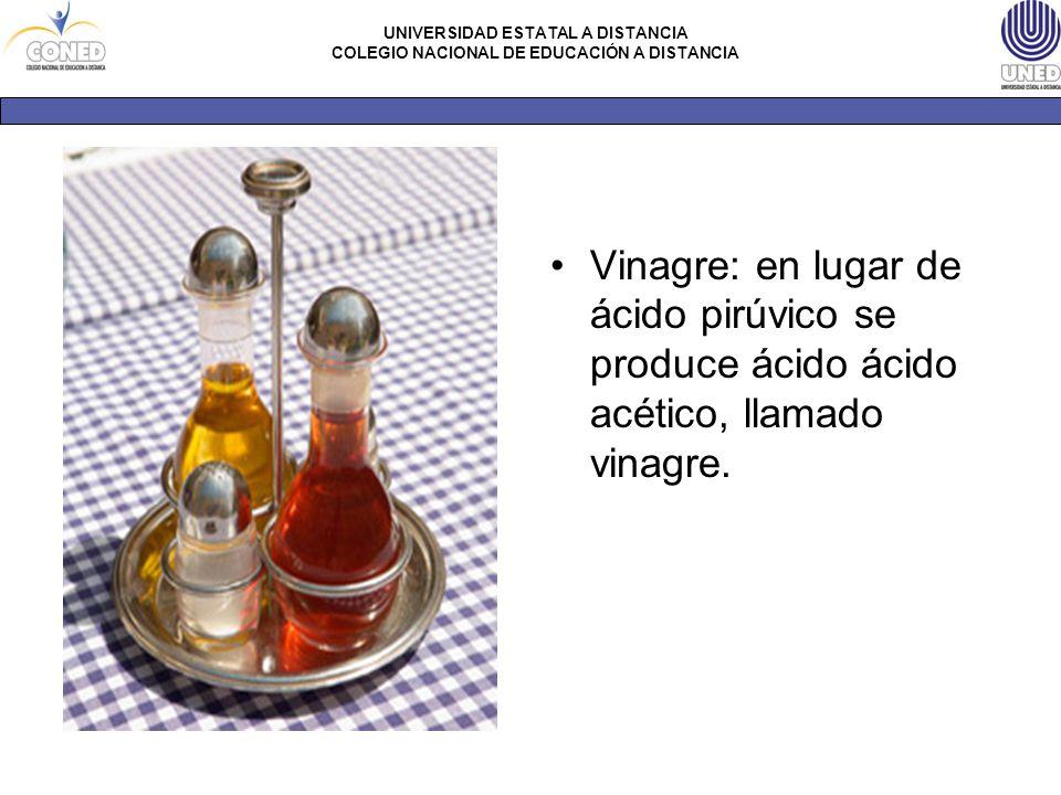 Vinagre: en lugar de ácido pirúvico se produce ácido ácido acético, llamado vinagre.