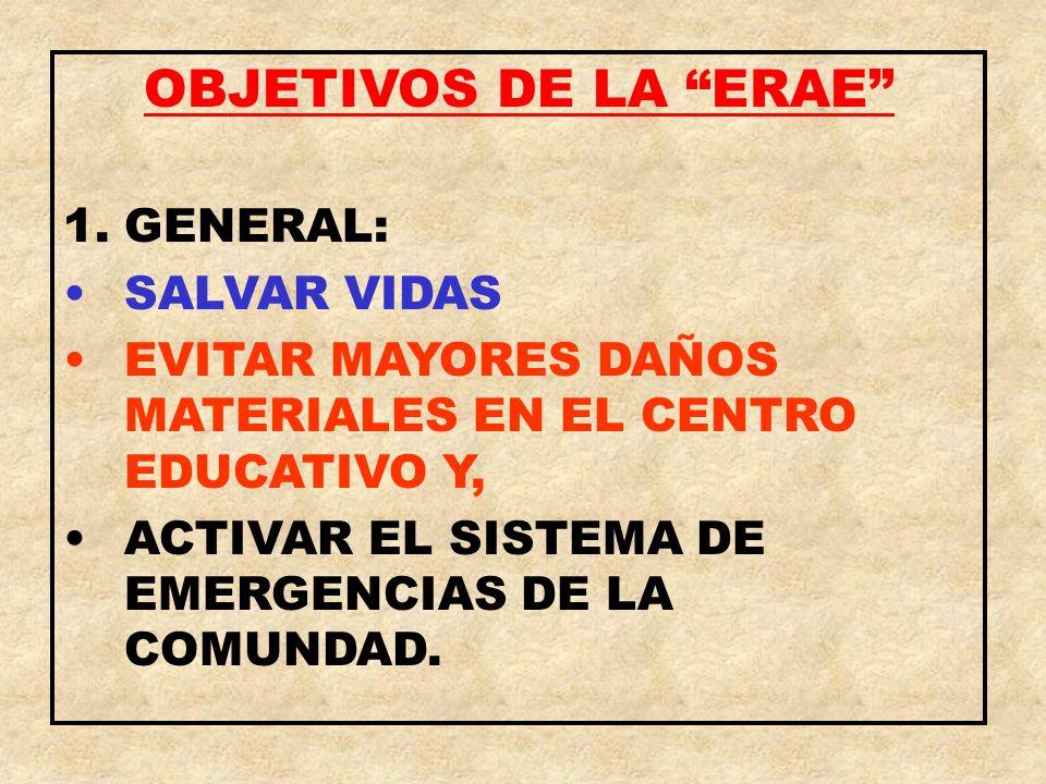 OBJETIVOS DE LA ERAE GENERAL: SALVAR VIDAS