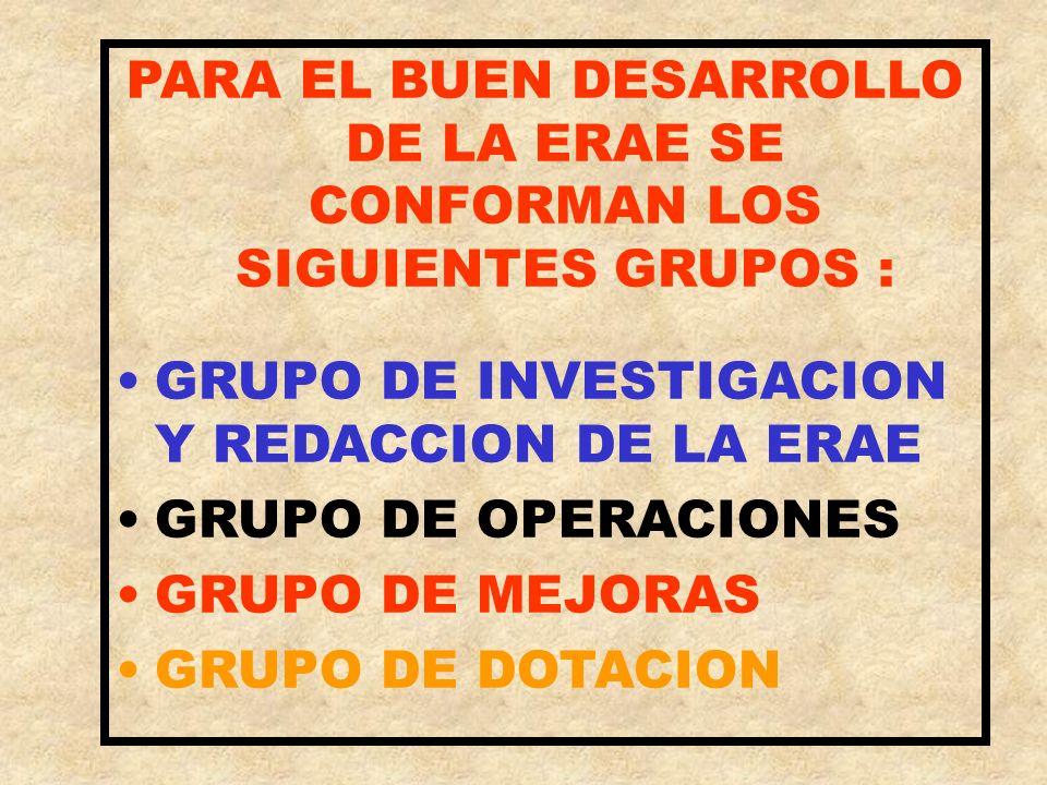 PARA EL BUEN DESARROLLO DE LA ERAE SE CONFORMAN LOS SIGUIENTES GRUPOS :