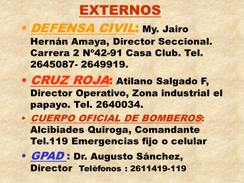 EXTERNOS DEFENSA CIVIL: My. Jairo Hernán Amaya, Director Seccional. Carrera 2 Nº42-91 Casa Club. Tel. 2645087- 2649919.