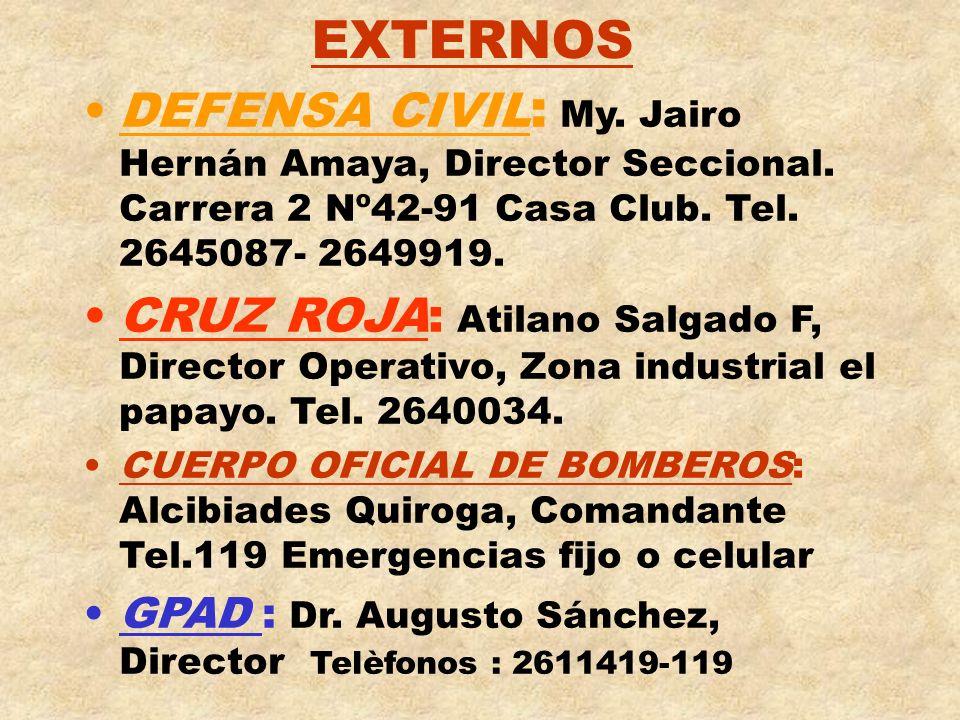 EXTERNOSDEFENSA CIVIL: My. Jairo Hernán Amaya, Director Seccional. Carrera 2 Nº42-91 Casa Club. Tel. 2645087- 2649919.