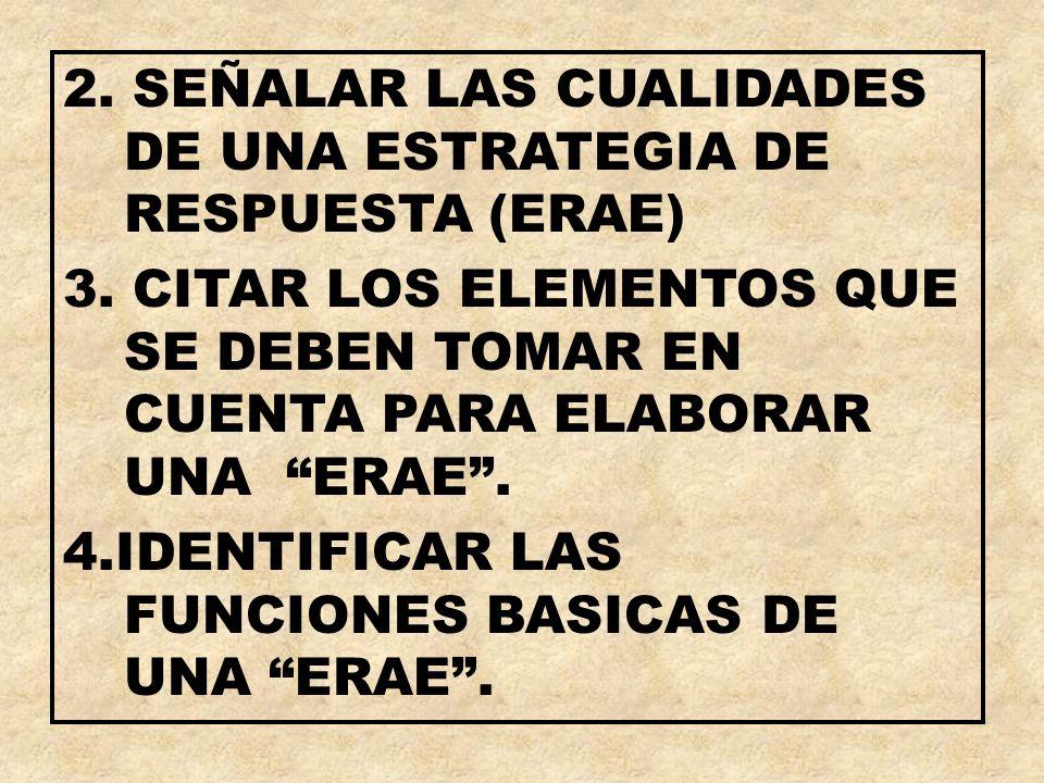 2. SEÑALAR LAS CUALIDADES DE UNA ESTRATEGIA DE RESPUESTA (ERAE)
