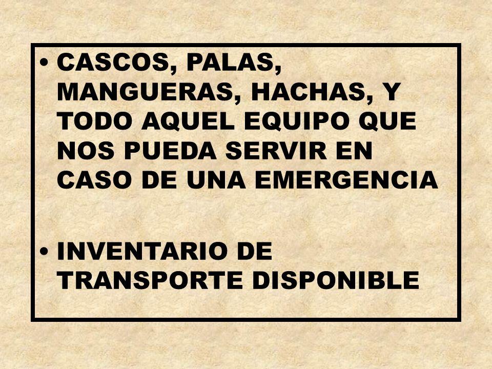 CASCOS, PALAS, MANGUERAS, HACHAS, Y TODO AQUEL EQUIPO QUE NOS PUEDA SERVIR EN CASO DE UNA EMERGENCIA