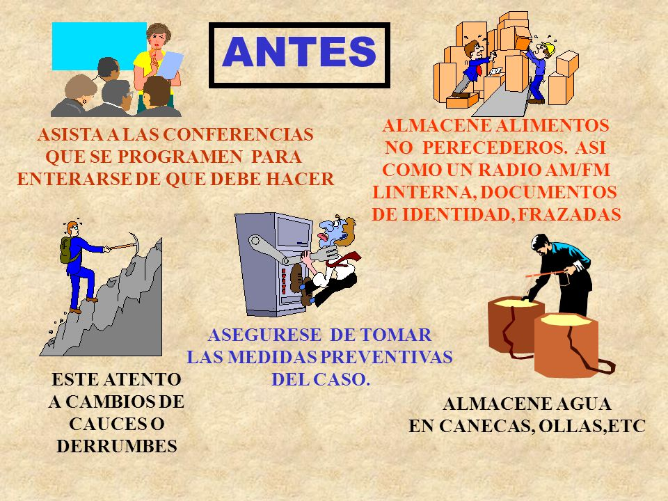 ANTES ALMACENE ALIMENTOS ASISTA A LAS CONFERENCIAS NO PERECEDEROS. ASI