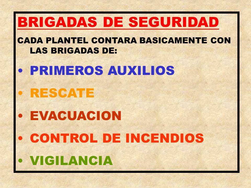 BRIGADAS DE SEGURIDAD PRIMEROS AUXILIOS RESCATE EVACUACION