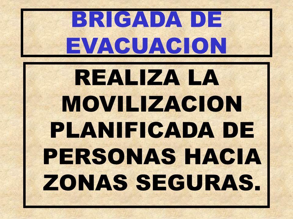 REALIZA LA MOVILIZACION PLANIFICADA DE PERSONAS HACIA ZONAS SEGURAS.