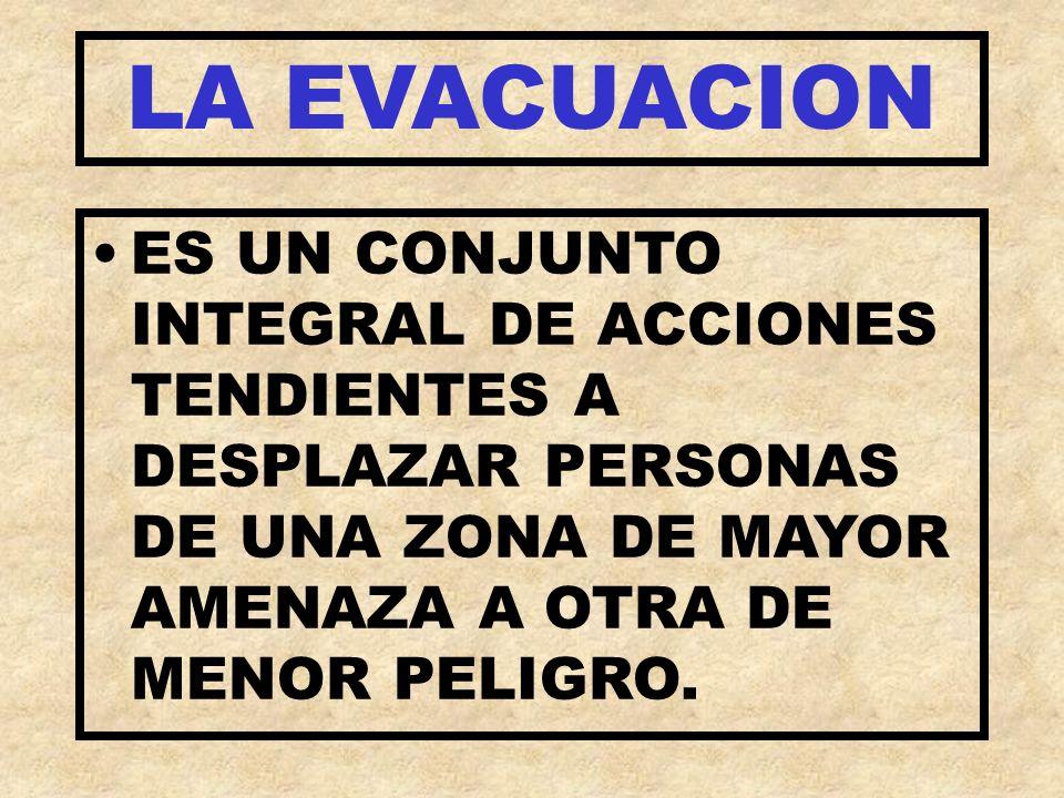 LA EVACUACIONES UN CONJUNTO INTEGRAL DE ACCIONES TENDIENTES A DESPLAZAR PERSONAS DE UNA ZONA DE MAYOR AMENAZA A OTRA DE MENOR PELIGRO.