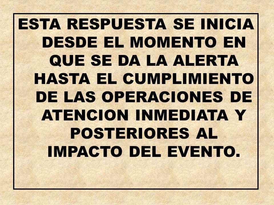 ESTA RESPUESTA SE INICIA DESDE EL MOMENTO EN QUE SE DA LA ALERTA HASTA EL CUMPLIMIENTO DE LAS OPERACIONES DE ATENCION INMEDIATA Y POSTERIORES AL IMPACTO DEL EVENTO.