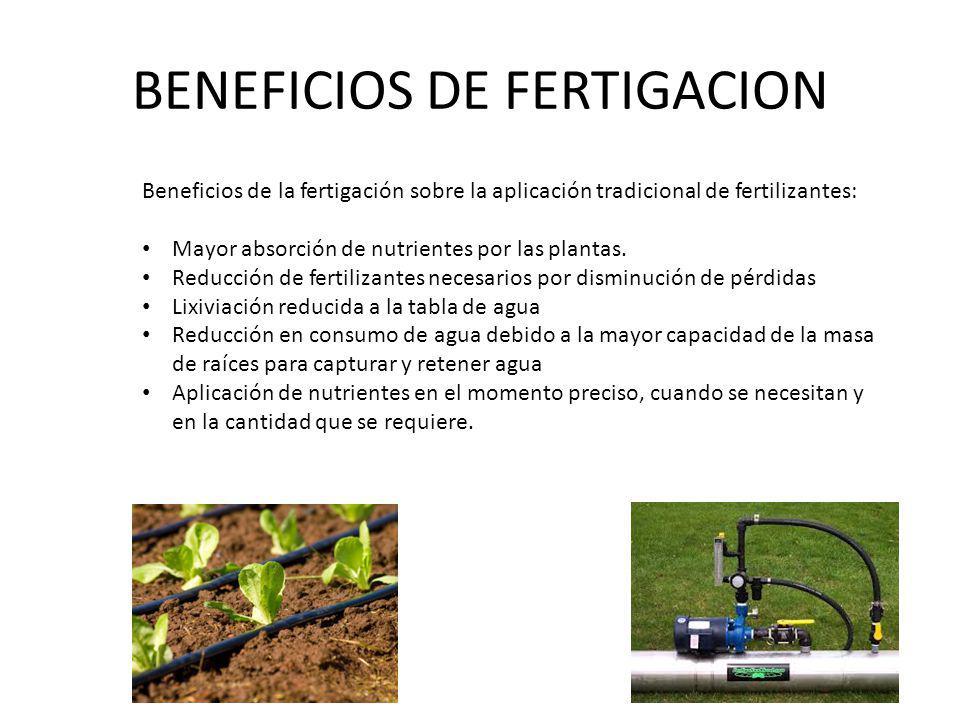 BENEFICIOS DE FERTIGACION