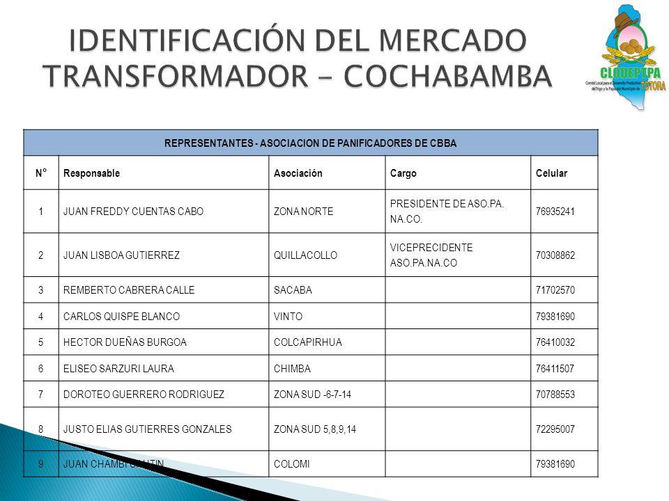 IDENTIFICACIÓN DEL MERCADO TRANSFORMADOR - COCHABAMBA