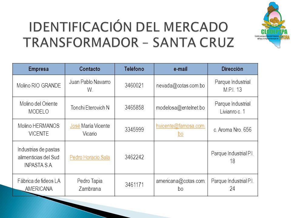 IDENTIFICACIÓN DEL MERCADO TRANSFORMADOR – SANTA CRUZ
