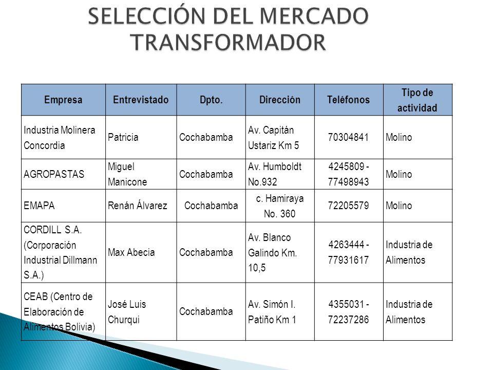 SELECCIÓN DEL MERCADO TRANSFORMADOR