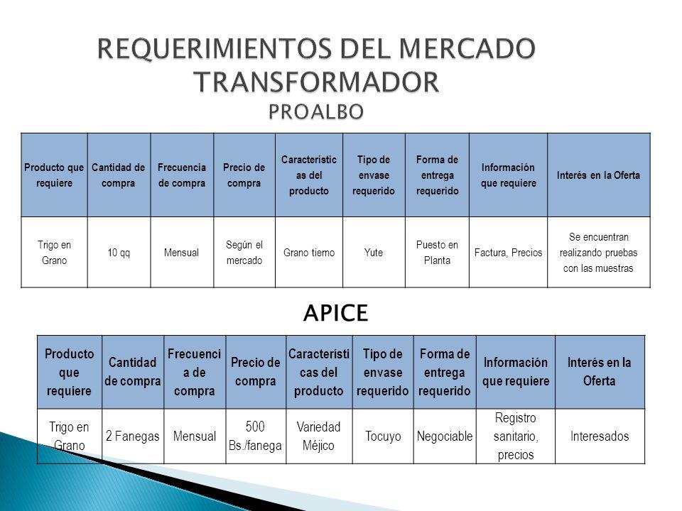 REQUERIMIENTOS DEL MERCADO TRANSFORMADOR PROALBO