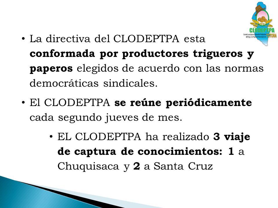 La directiva del CLODEPTPA esta conformada por productores trigueros y paperos elegidos de acuerdo con las normas democráticas sindicales.