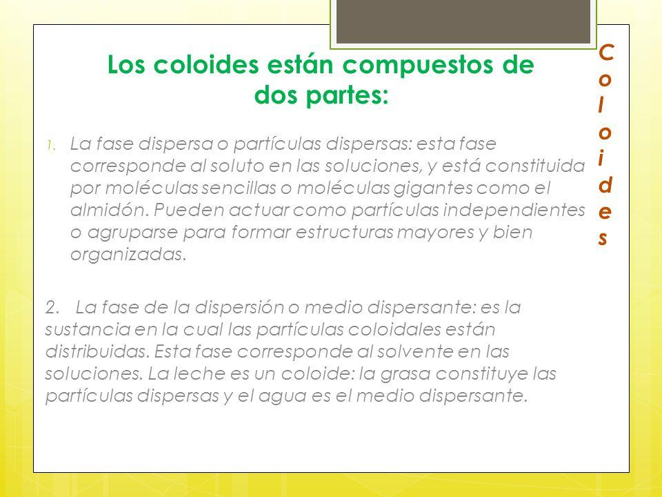 Los coloides están compuestos de dos partes: